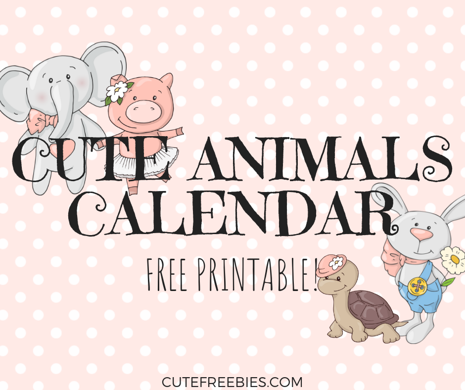 graphic regarding Cute Free Printable Calendars identify Free of charge 2019 Lovely Calendar With Pets! - Lovely Freebies For Oneself
