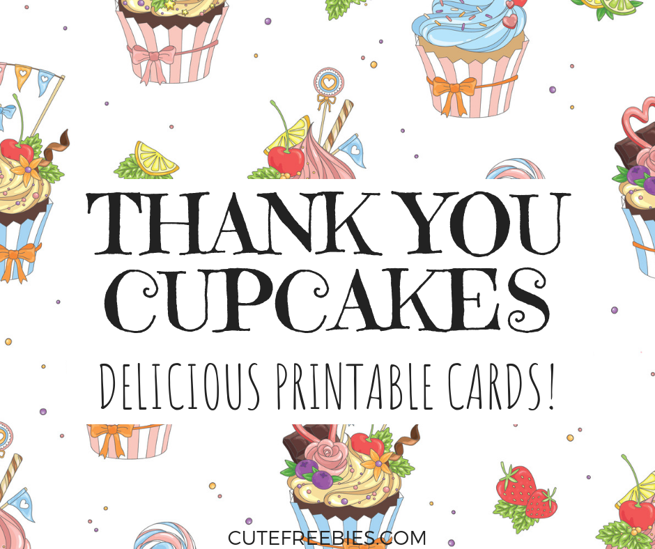 graphic relating to Printable Cupcakes identify No cost Cupcake Thank Yourself Playing cards - Printable! - Adorable Freebies