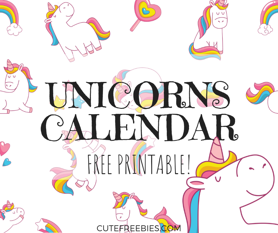 Cute Unicorn 2019 Calendar Free Printable Cute Freebies For You