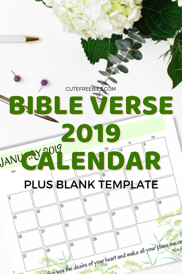 Free Bible Verse Calendar For 2019 Cute Freebies For You