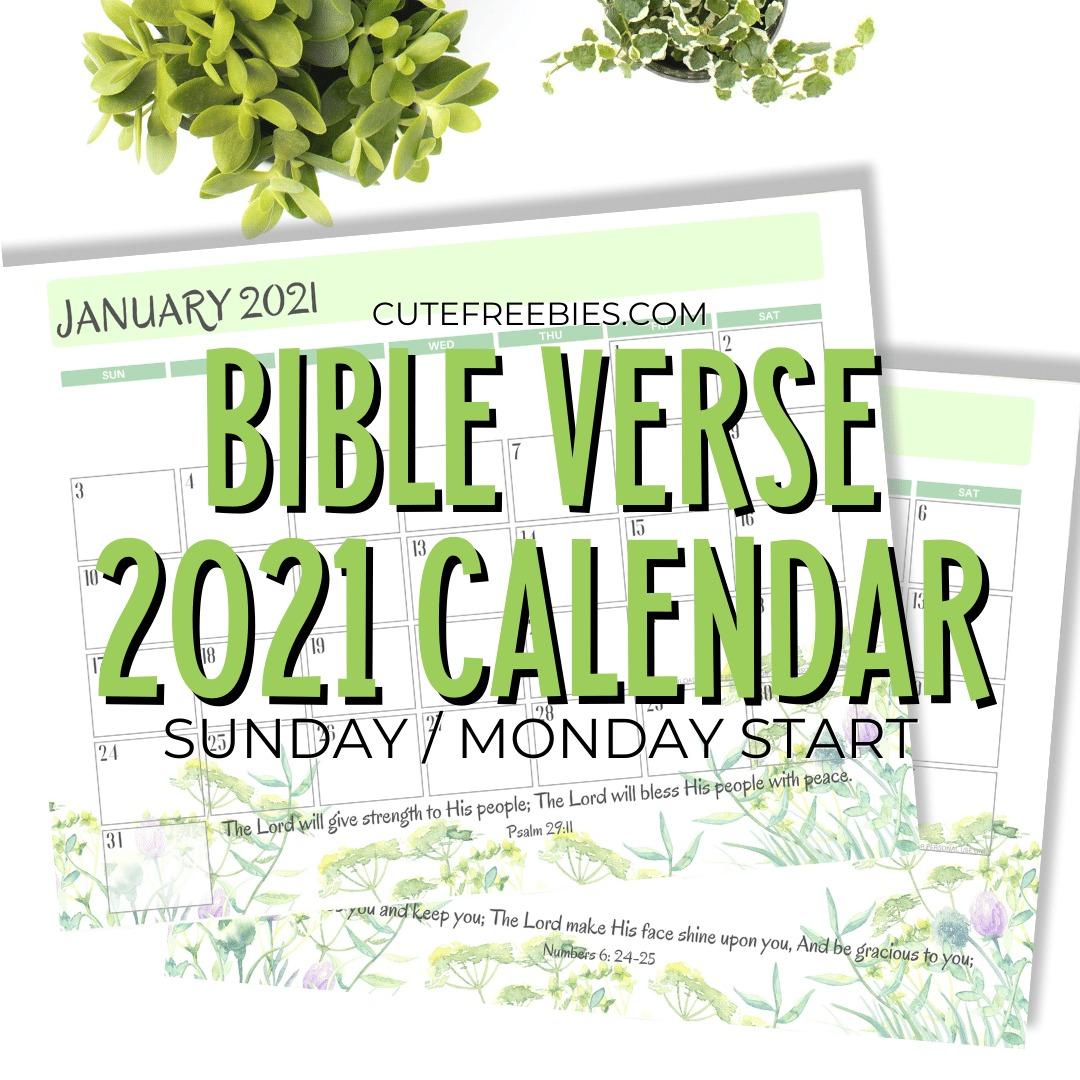 Biblical Calendar 2022.2021 Bible Verse Calendar Free Printable Cute Freebies For You