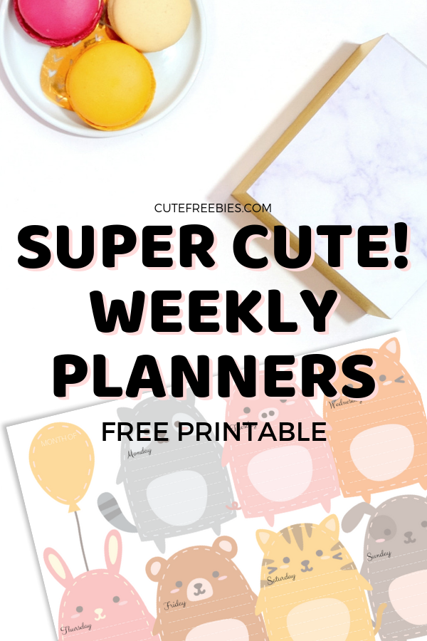 graphic about Cute Weekly Planners identify Weekly Planner Absolutely free Printable PDF - Lovable Types! - Adorable