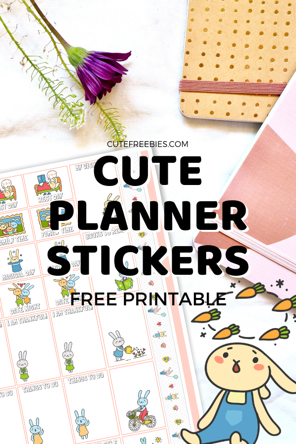 photograph about Free Planner Sticker Printables known as Adorable Planner Stickers With Rabbits - Cost-free Printable! - Lovable