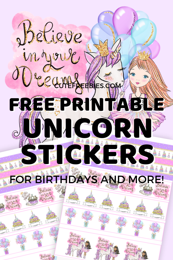 graphic about Free Printable Unicorn identified as Unicorn Birthday Planner Stickers - Totally free Printable! - Adorable
