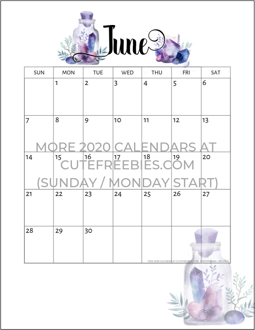 printable monthly calendar june 2020