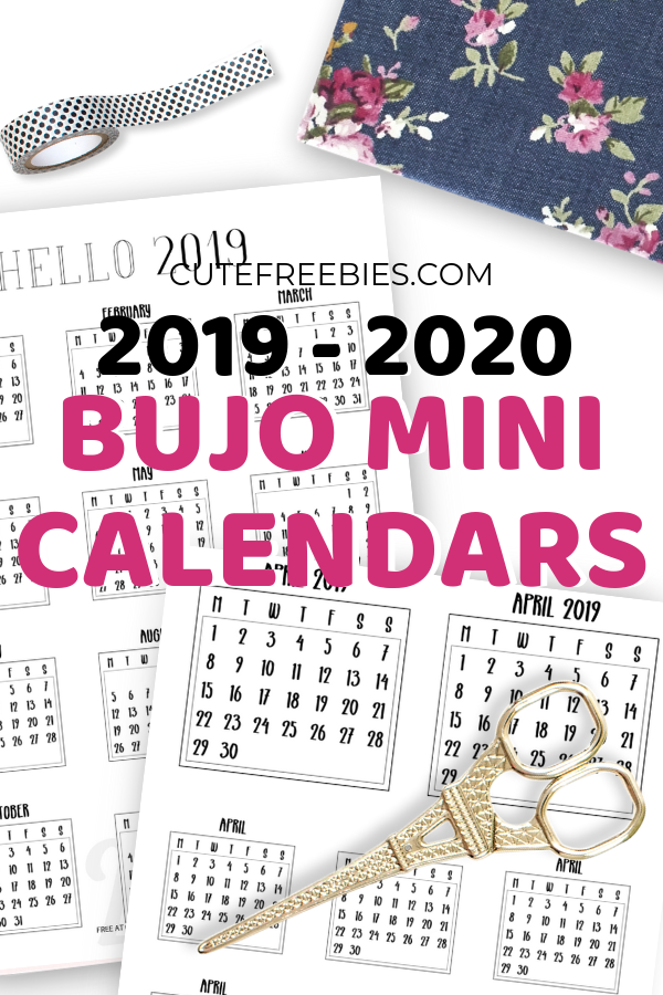 photograph about Bullet Journal Calendar Printable referred to as Absolutely free 2019-2020 Bullet Magazine Calendar Printable Stickers
