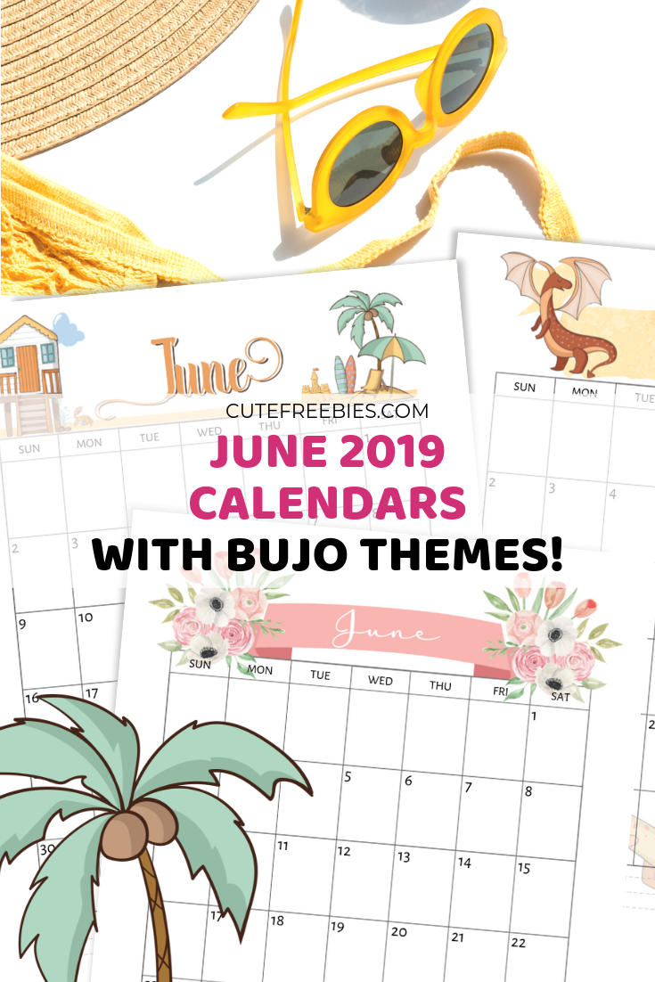 picture regarding Bullet Journal Monthly Calendar Printable called June 2019 Calendar Printable - Bullet Magazine Themes! - Lovely