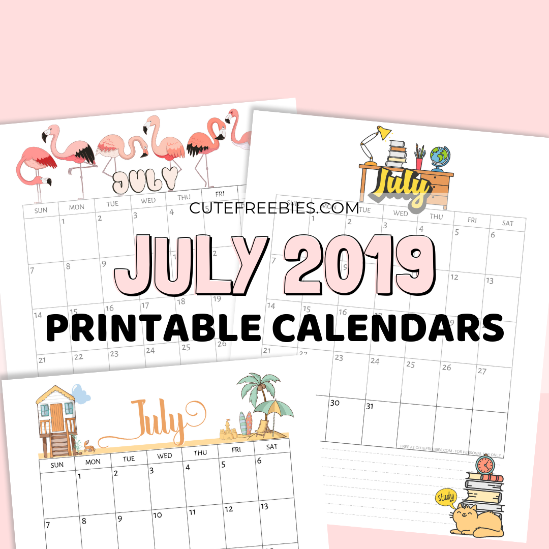 photo regarding Cute Free Printable Calendars called July 2019 Calendar Cost-free Printable With Bujo Themes - Lovable