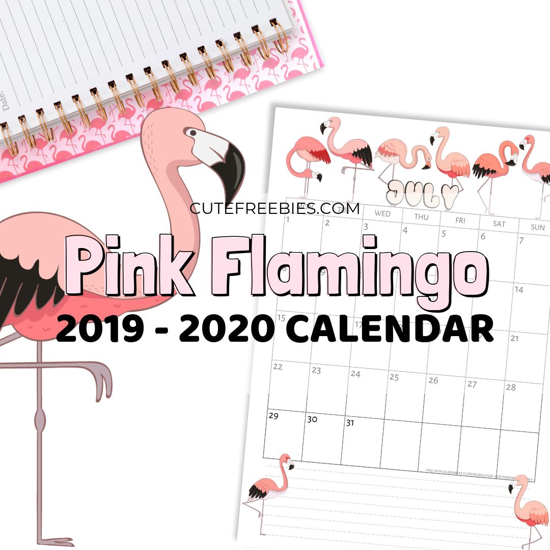 photo regarding Flamingo Printable identified as Purple Flamingo Printable Calendar For 2019-2020 - Adorable