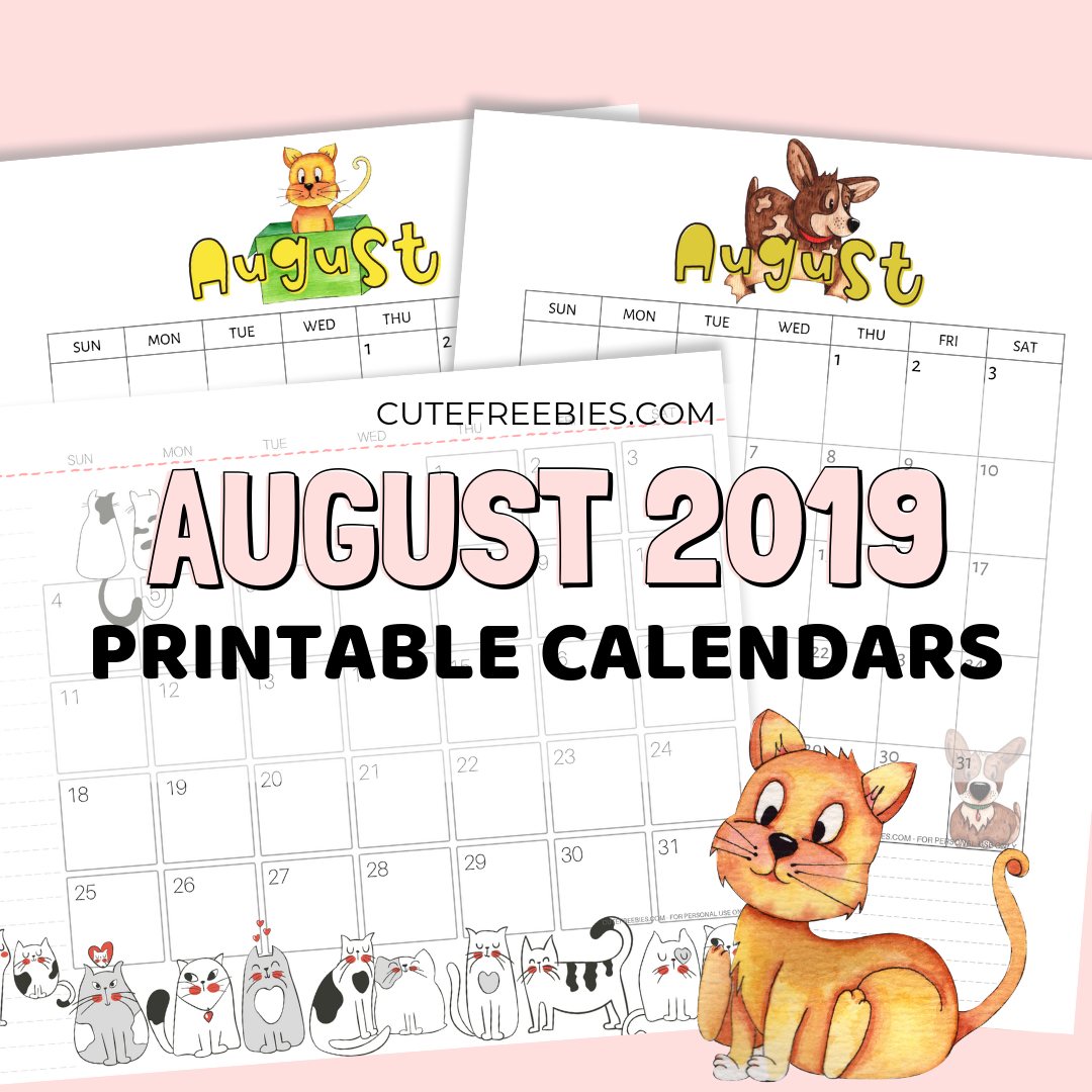 picture about Cute Calendars identified as August 2019 Calendar - Totally free Printable! - Adorable Freebies For Yourself