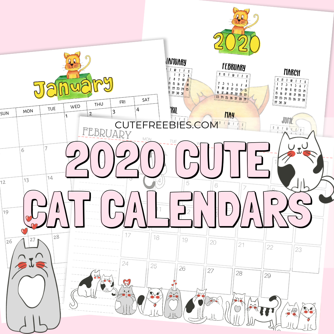 image relating to Calendar 2020 Printable identified as Printable Cat Calendar 2020 And Extra Cat Printables! - Adorable