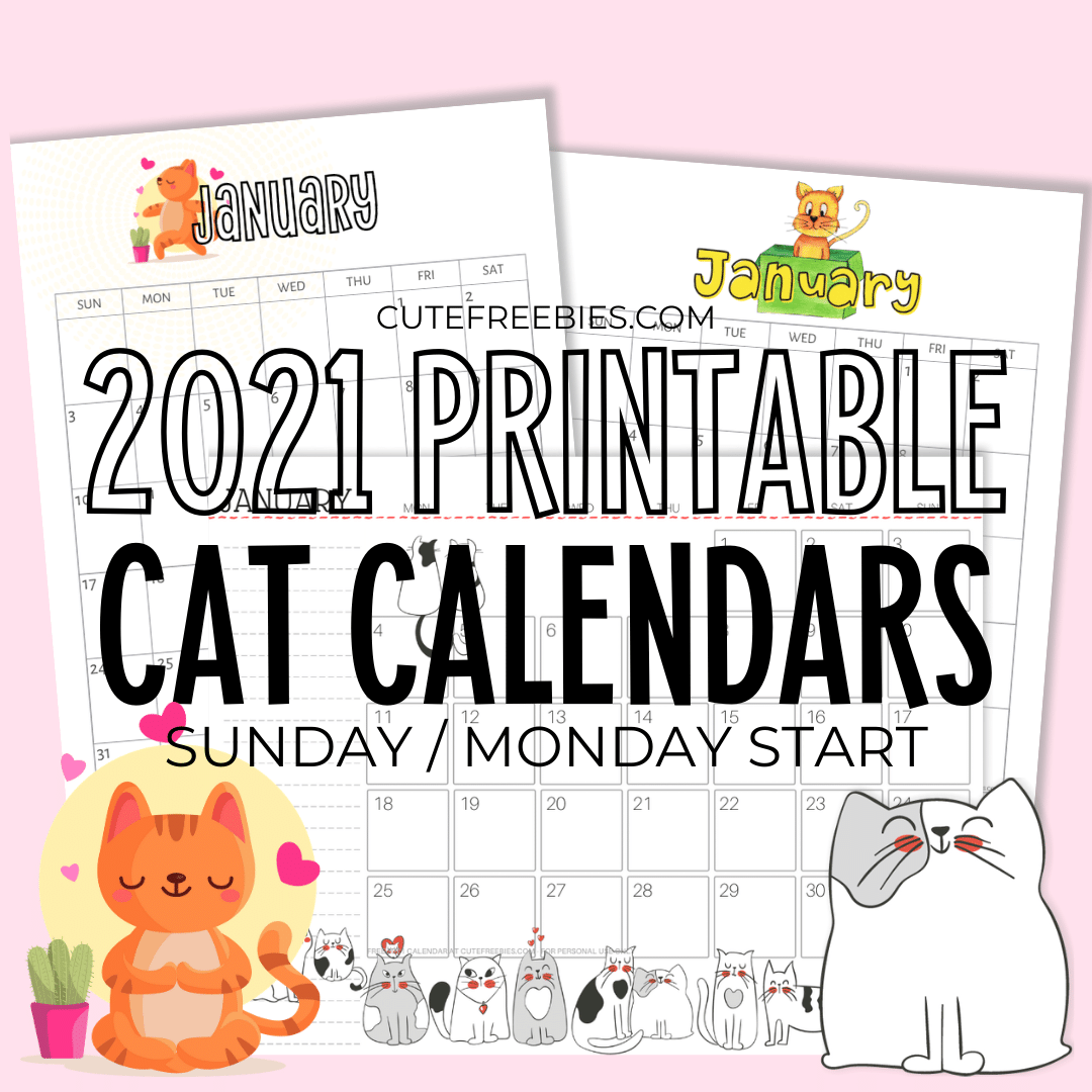 Printable 2021 Cat Calendar And More!   Cute Freebies For You