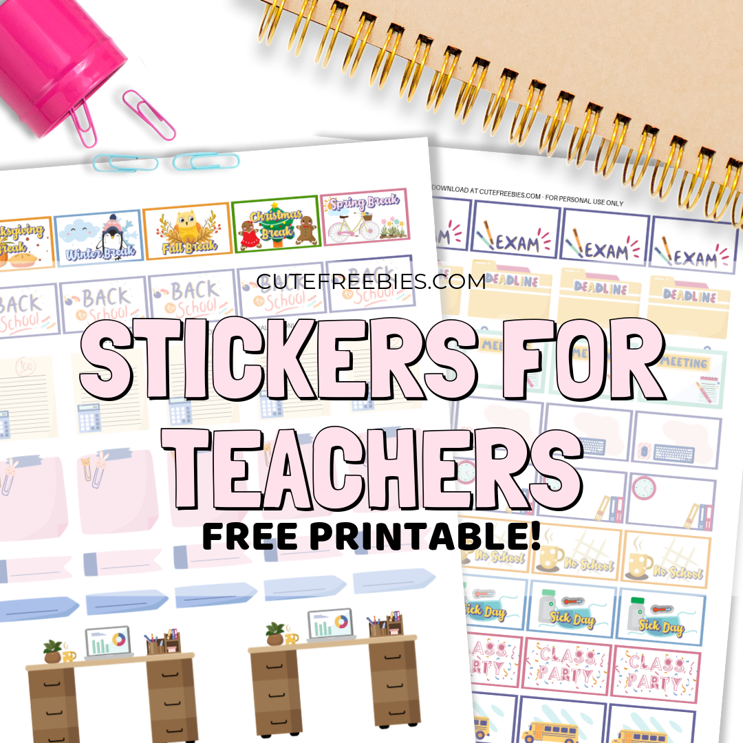 photograph relating to Printable Teacher Planner identify Instructor Planner Stickers - No cost Printable! - Lovable Freebies