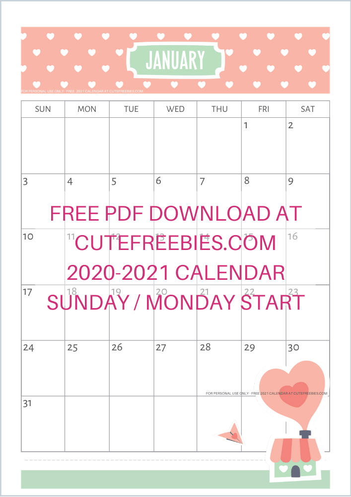 A4 2021 SUNDAY CALENDAR CUTELOVE 2   Cute Freebies For You