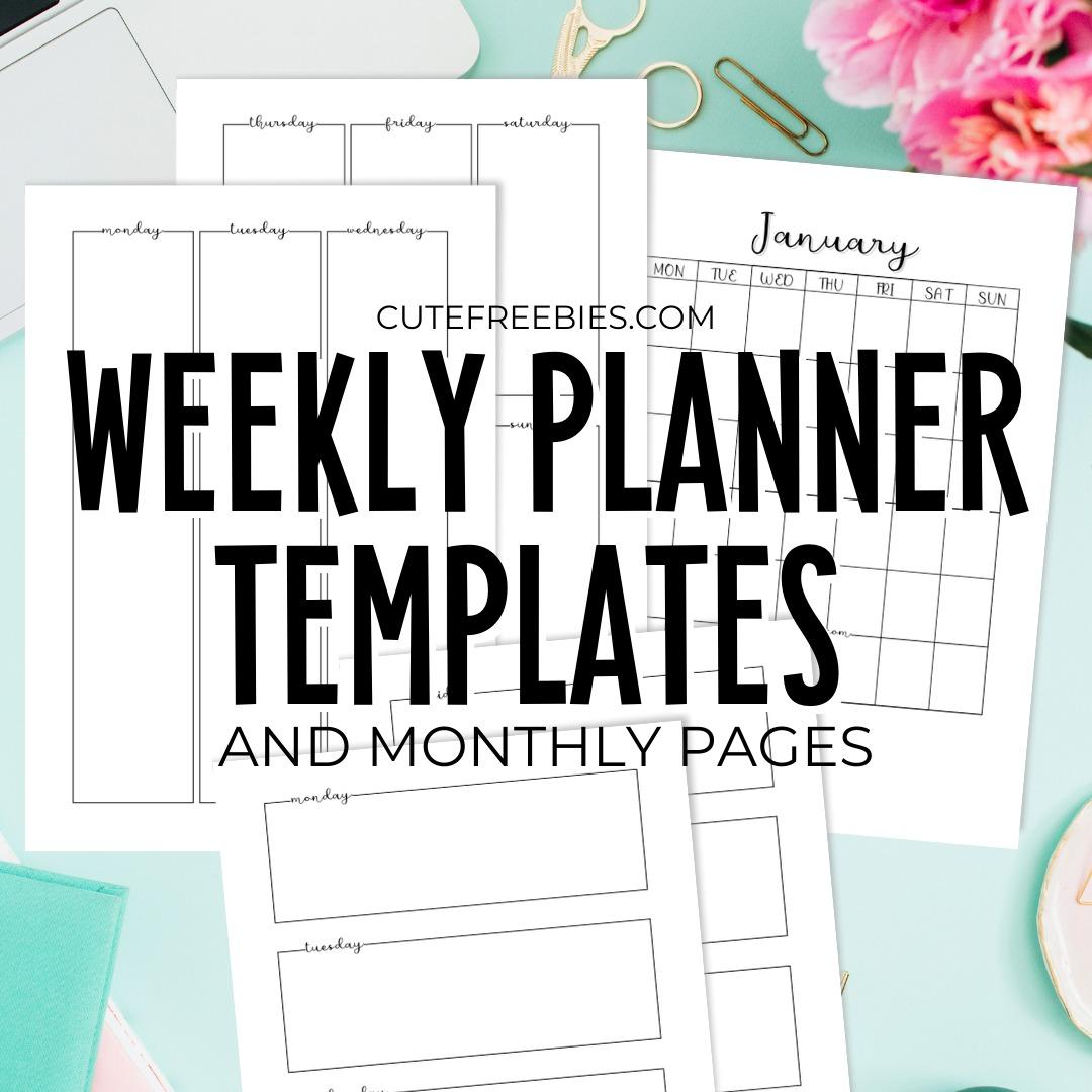 Free Printable Weekly Planner Template PDF   Cute Freebies For You